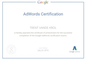 Trent Vande Krol AdWords Certification